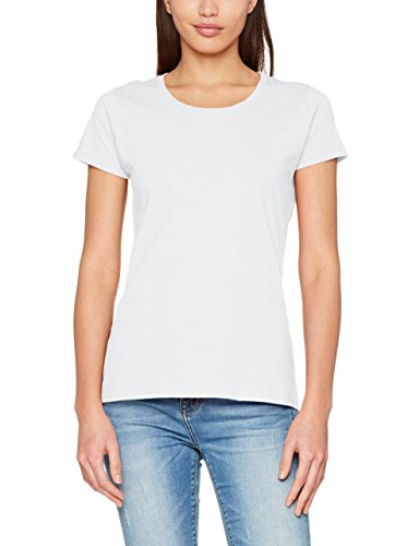 Fruit of the Loom Damen T-Shirt Original T Lady-Fit, Weiß (White 000), Small
