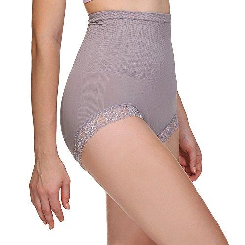 Hi Spitze (BOMIMI Damen Shapewear Spitze Hi-Waist Panty Bauchkontrolle, Nahtlose Body Shaper Pack, Damen, Light Purple (1 Pack), Waist:18.32