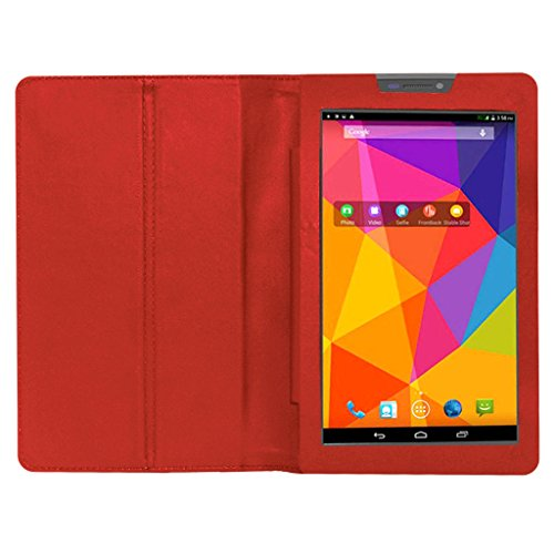 Acm Executive Leather Flip Case For Micromax Canvas Tab P480 Tablet Front & Back Flap Cover Stand Holder Red  available at amazon for Rs.219