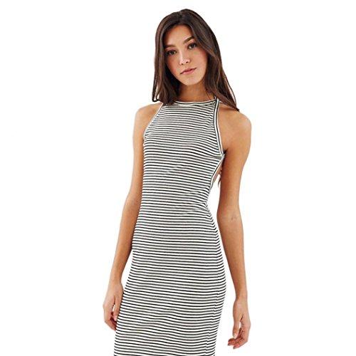 OverDose Damen Frauen reizvolles Sleeveless Halter dünnes Bodycon gestreiftes gedrucktes Partei Abend Kleid (One size, Weiß)