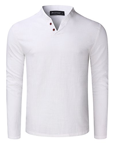 MODCHOK Herren Langarm Shirt Longsleeve Leinen Hemd V-Ausschnitt Slim Casual Weiß XL (Weiße Leinen-shirt)