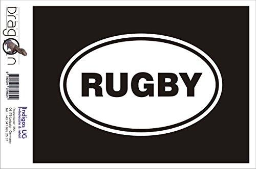 INDIGOS UG Aufkleber Autoaufkleber - JDM Die Cut Auto OEM - Rugby 190x120mm schwarz - Auto Laptop Tuning Sticker Heckscheibe LKW Boot