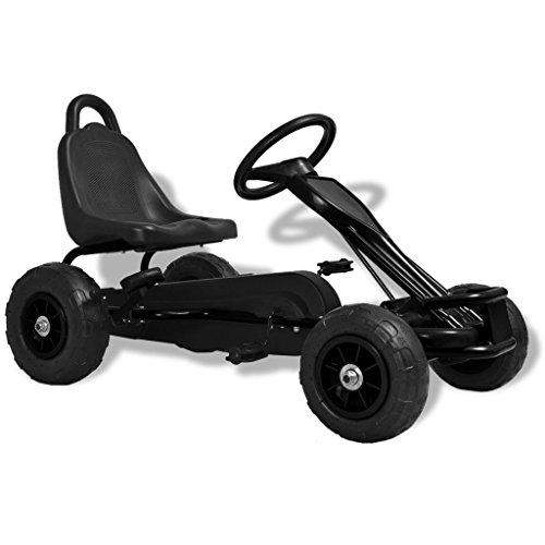 mewmewcat Gokart Tretfahrzeug Kinder Pedal Go Karts mit Luftreifen Schwarz