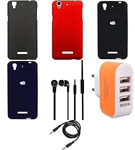 NIROSHA Cover Case Headphone Charger Combo for YU Yureka Combo