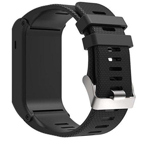 Armband für Garmin vivoactive HR, FNKDOR Garmin vivoactive HR GPS-Smartwatch Silikon Band Wechselarmband Ersatzarmband Uhrenarmband (Schwarz)