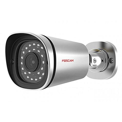 Foscam FI9901EP Telecamera IP PoE 4 Megapixel H.264 Visione Notturna a 20 Metri e Zoom x6, Angolo massimo: 106°, Argento