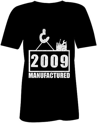 Manufactured 2009 - V-Neck T-Shirt Frauen-Damen - hochwertig bedruckt mit lustigem Spruch - Die perfekte Geschenk-Idee (01) schwarz