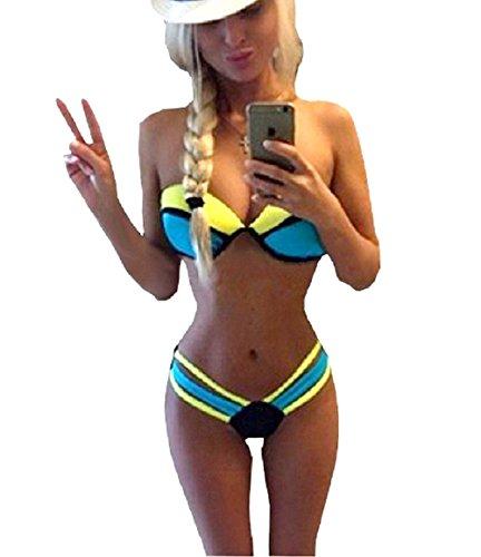 COSTUMI MARE Damen Badeanzug Gelb blau Medium