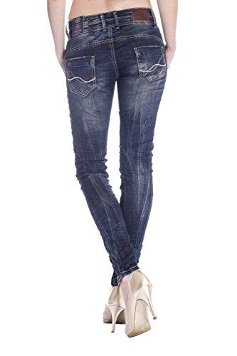 Blue Monkey Damen Skinny Jeans mit offener Knopfleiste Anny-1306 Blau