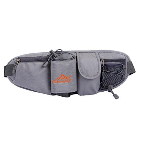 Smarstar sac de sport sac banane Camping unisexe pour le voyage et Pratique Randonnée Packs Sport Outdoor Mini élastique Cyclisme Course à pied du sac de taille sac de nylon -gris