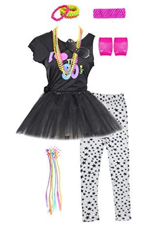 Jahre 80er Kostüm Wild Child - Mädchen 80er Jahre T-Shirt Kostüm Outfit Accessoires Kopfbedeckungen Rock Leggings Handschuhe