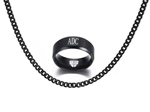 Vnox Edelstahl League of Legends LOL ADC Gravur Fingerringe für Männer Frauen Geschenk,Schwarz,Frei Panzerkette Halskette