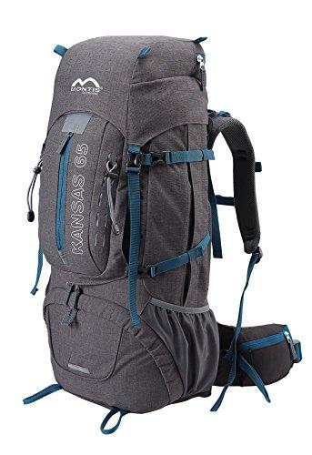 MONTIS KANSAS 65, Trekking-Rucksack mit Audio- und Trinkvorbereitung, super geeignet als Wander- Reise- und Tourenrucksack, ausreichend Platz für Camping-Outdoor Aktivitäten, mit wenig Eigengewicht, 65L