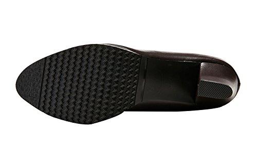 Chalmart Boots Femme Pur Couleur Chaussure De Talon Chaussure De Cuir Brun