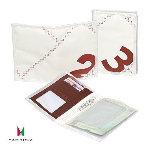 Sea Licence Brieftasche, Weiß/Rot aus Segeltuch