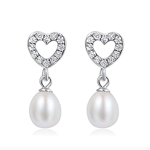 Fashion 925 Sterling Silver Natural Freshwater Pearl Earrings Fresh Heart-shaped Earrings Hypoallergenic For Women And