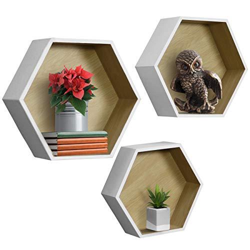 Sorbus® Schweberegal Set - Wandregale, dekoratives Hängedisplay für Sammlerstücke, Fotorahmen, Pflanzen und mehr, 3er-Set Box Hexagon (Set of 3) - White -