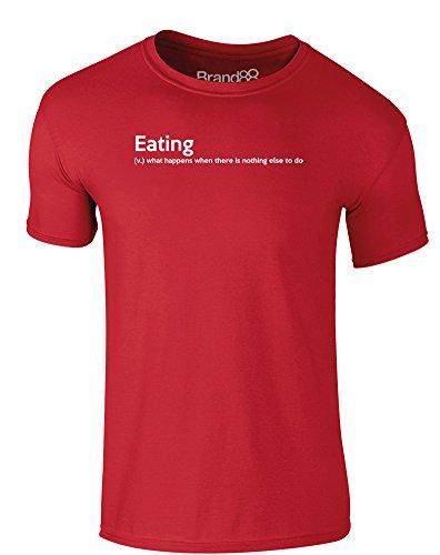 Brand88 - Eating Definition, Erwachsene Gedrucktes T-Shirt Rote/Weiß