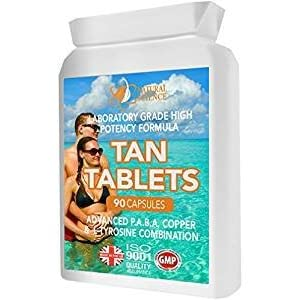410%2BVRkQbLL. SS300  - Tanning Tablets for Healthy TAN - 90 Capsules Provide Full Course - Safe and Healthy Laboratory Formula - use with or Without Sun - Advanced PABA Vitamin E Formula - for a Healthy Golden Glow