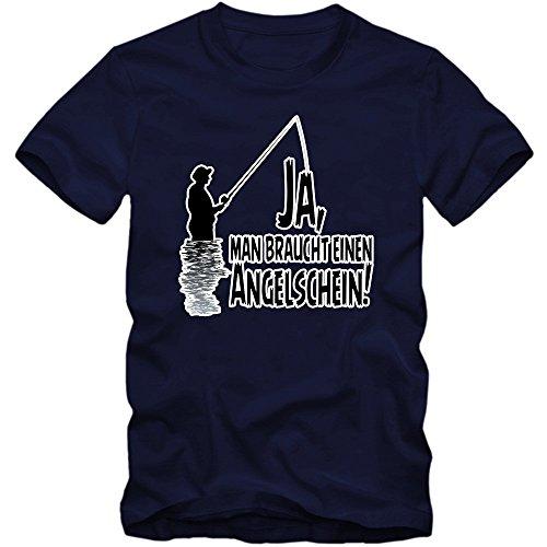 Angeln Sprüche #1 T-Shirt | 'Ja, man braucht einen Angelschein!' | Fishing | Fisch |Angler | Angeln | Herren-Shirt © Shirt Happenz Dunkelblau (French Navy L190)
