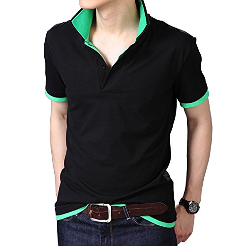 Fanideaz Branded Men's Double Collar Premium Polo Tees M Green and Black