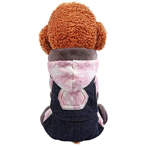 Maleya Hundemantel Hund Hoodies Kleidung, Pet Puppy Katze Niedlicher Baumwoll Warm Hoodies Coat Pullover Haustier warm halten Tasche trägerhose Herbst und Winter Katze hundekleidung (Stricken Baumwoll-kleidung Pullover Hand)