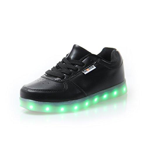 DoGeek LED Schuhe Weiß Schwarz 7 Farbe Schuhe leuchtender Damen Herren leucht Sneaker für Mädchen Jungen (Bitte bestellen Sie eine Nummer grösser)