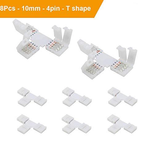LED Streifen Steckverbinder VEENY LED-Lichtleisten Stecker für 10mm-wide 5050 RGB-Lichtleiste 4 Pins 8-pack T-förmiger, nicht wasserdichter Schnapp Streifen zum Draht Löten Wide Led