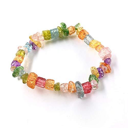 LLXXYY Stein Armband,Natürliche Edelstein Armband Stretch Chip Perlen Nuggets Granat Crystal Coral Quarz Armbänder Armreifen Für Frauen Bunte