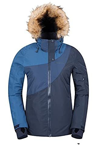 Mountain Warehouse Lelex Women's Ski Jacket - Breathable, Taped Seams, Waterproof IsoDry Fabric with Recco Reflectors, Adjustable Hood & Snowskirt, 4 Pockets Navy 14