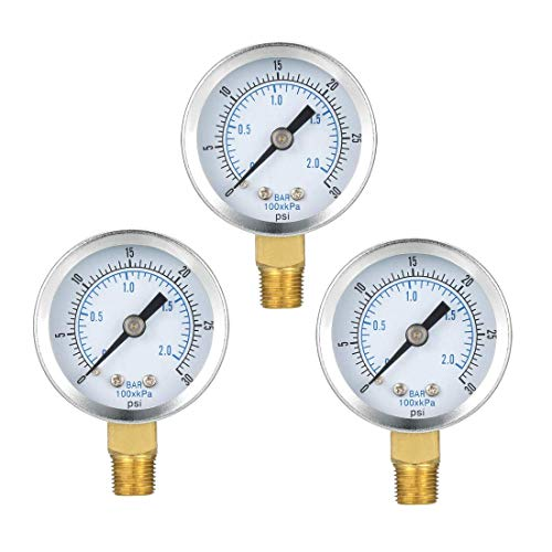 ZCHXD Bottom Mount Pressure Gauge, 0-30 psi/kPa Dual Scale, 1-25/64