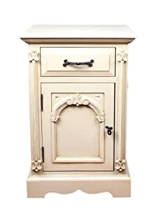 K.Interiors Collection Chantilly Bedside Cabinet left hand door with Paint Finish, Ivory White