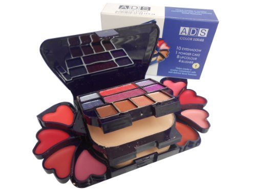 ADS Color Series Makeup Kit (8 Eyeshadow, 1 Power Cake, 8 Lip Color, 2 Blusher), Product Color May Vary