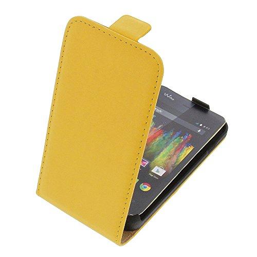 Tasche für Wiko Kite 4G Premium Flip Kunstleder gelb