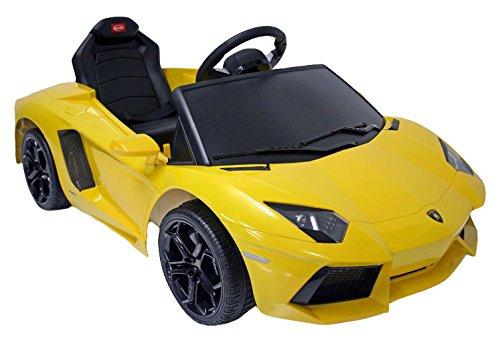 Lamborghini Coche Aventador eléctrico 6V con con Control Remoto y simulador de Arranque para niños a Partir de 3 años con Luces Delanteras led y Toma de MP3 Color Amarillo Herrajes Multimec 4001