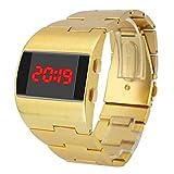 e6e61ae75ea3 Yivise Relojes para Hombre Fresco Moda Guapo Ancho Dial Steel Belt Sport  Monocromo Digital Reloj de Pulsera(D)