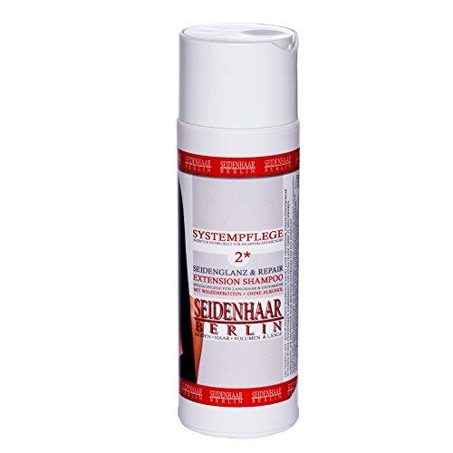 *Seidenhaar Seidenglanz & Repair- Extension Shampoo * mit Seidenproteinen & Keratin * ohne Silikone, ohne Öle, ohne Parabene, ohne Alkohol * Spezialshampoo für Extensions & Langhaar* : 200 ml