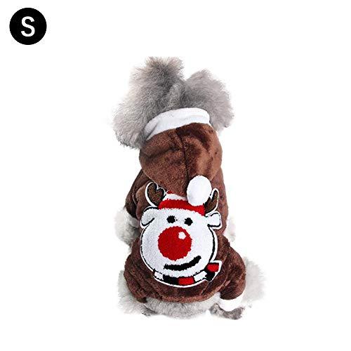 yanyaoo Weihnachten Haustier Mantel Herbst und Winter warme Hundebekleidung Weihnachten Baumwollmantel für Teddy Kleiner Hund Katze Pomeranian Bär Welpen