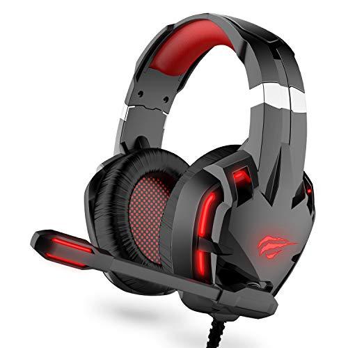 havit Gaming Headset für PC, Gaming Kopfhörer für Laptop, mit Surround Sound 50MM Lautsprecher, Rauschunterdrückung Mikrofon und Lautstärkeregler (Rot, H2001d)