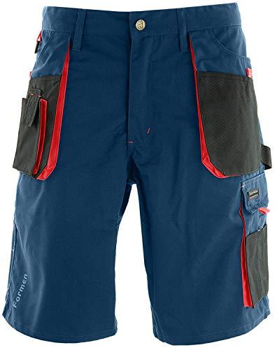 Reis Kurze Arbeitshosen Herren mit Werkzeugtasche - Arbeitsshorts für Garten, Werkstatt und Arbeit, Blau-Rot, Größe XL