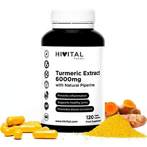 Cúrcuma 6000 mg, Extracto al 95% con Pimienta Negra | 120 cápsulas vegetales | Para mejorar la...