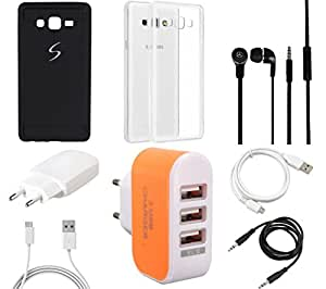 NIROSHA Cover Case Charger Headphone USB Cable for Samsung Galaxy ON7 - Combo