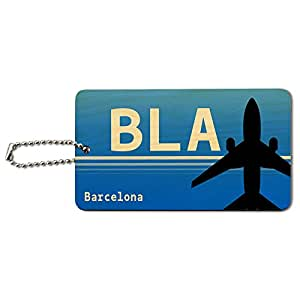 Barcelona Venezuela (BLA) Airport Code Wood ID Tag Luggage Card Suitcase
