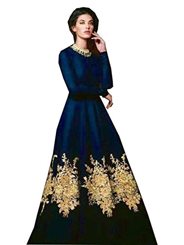 Royal Export Women\'s Semi-Stitched Gown (Blue)
