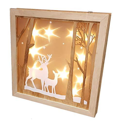 LED Weihnachtsdeko Rentier - 30x30 cm - Holz Fensterdeko beleuchtet mit Hologramm Effekt
