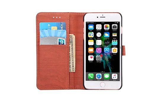 Hölzernes Beschaffenheits-Muster PU-lederner Mappen-Kasten-Abdeckungs-Folio-Standplatz-Fall mit Einbauschlitzen für iPhone 7 Plus ( Color : Rose ) Darkblue