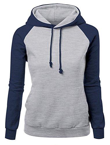 SMITHROAD Damen Hoodie Kapuzenpullover Sweatshirt mit Kapuze und Kordelzug Hooded Sweater Langarm S-XL Grau Blau