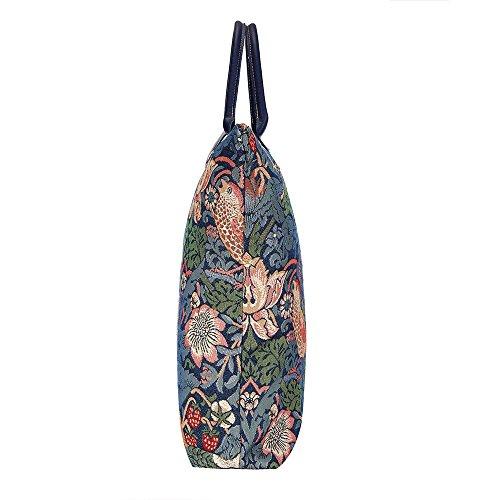 Borsa donna Signare in tessuto stile arazzo Pieghevoli Shopping alla moda Westie Strawberry Thief Blue