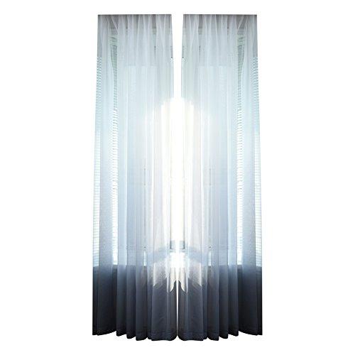 DOMYBEST Rideau de Gradient Couleur unie Tulle Sheer Rideau 100x207cm(Gris)