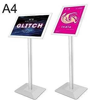 Voilamart Infoständer DIN A4 für Plakate mit 450x 320mm Informationsständer Rostfrei Aluminium Fußplatte Infohalter für Hoch-/Querformat